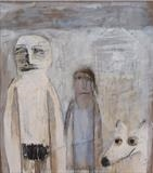 Mr & Mrs Basic and their pet hyena by Alice Leach, Painting, Oil on Linen